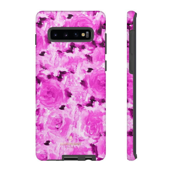 Hot Pink Floral Print Phone Case, Abstract Print Tough Cases, Designer Phone Case-Made in USA-Phone Case-Printify-Samsung Galaxy S10 Plus-Glossy-Heidi Kimura Art LLC