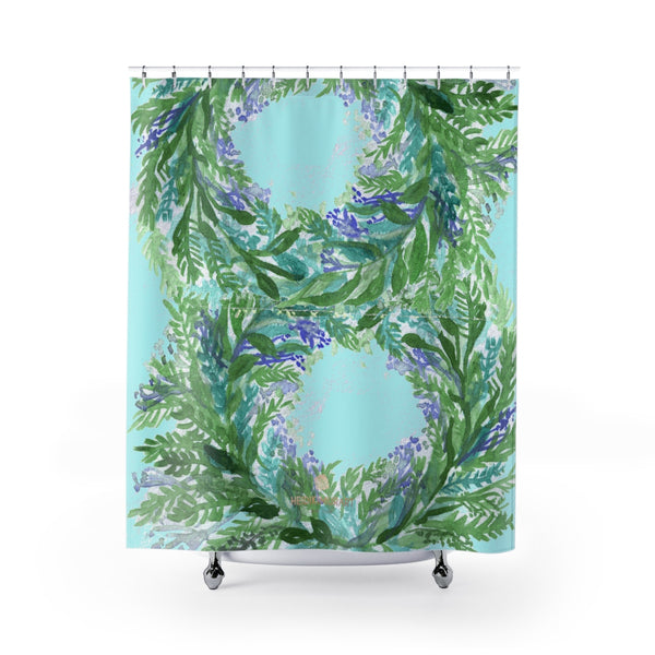 "Pastel Blue French Lavender Floral Print Designer Polyester Shower Curtains- Made in USA-Shower Curtain-71"" x 74""-Heidi Kimura Art LLC Pastel Blue Lavender Bath Curtains, Designer Cute Pastel Blue and Purple French Lavender Floral Print - Printed in USA, Large Size 100% Polyester 71x74 inches Shower Curtains"