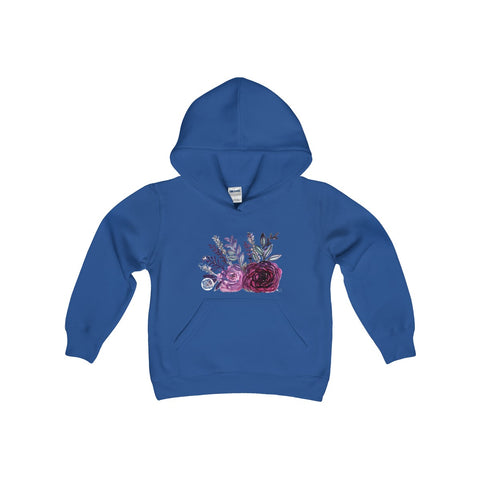 Cute Floral Purple Rose Print Girls Kids Heavy Blend Hooded Sweatshirt - Made in USA-Kids clothes-Heidi Kimura Art LLC
