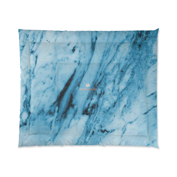 Blue White Marble Print Luxury Designer Best Comforter For King/Queen/Full/Twin-Comforter-Heidi Kimura Art LLC
