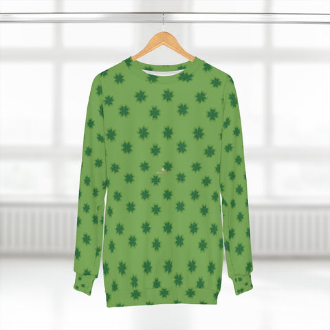 Green St. Patrick's Day Green Clover Leaf Print Unisex Sweatshirt Top Outfit - Made in USA-Unisex Sweatshirt-2XL-Heidi Kimura Art LLC
