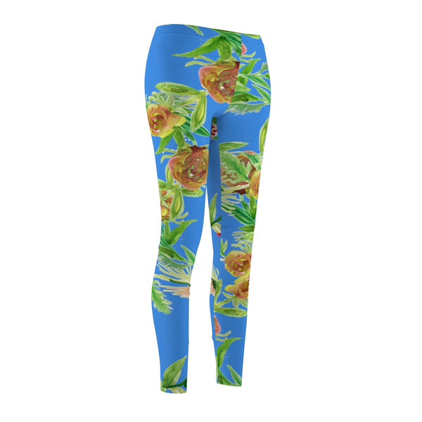 Blue Floral Print Women's Tights, Flower Casual Leggings - Made in USA (US Size: XS-2XL)-Casual Leggings-Heidi Kimura Art LLC