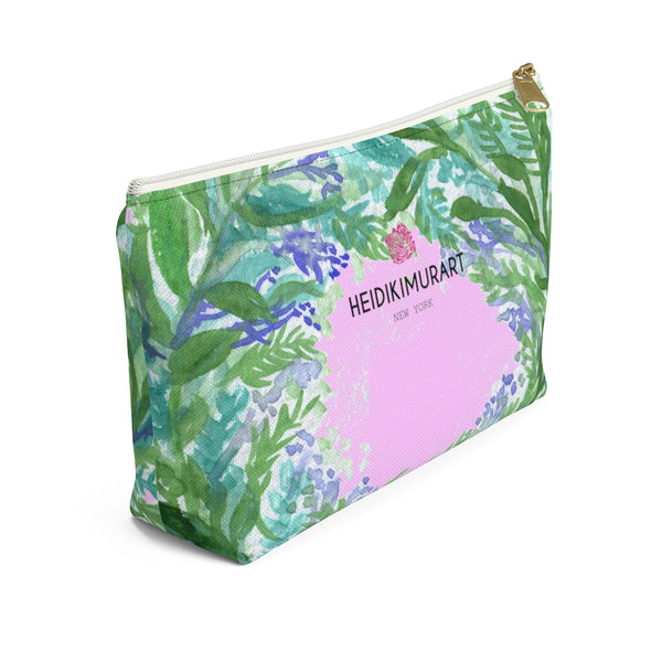 Pink French Lavender Floral Print Accessory Pouch with T-bottom-Accessory Pouch-Heidi Kimura Art LLC