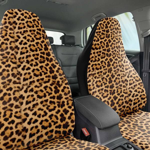 Leopard Car Seat Cover, Brown Beige Leopard Animal Print Designer Essential Premium Quality Best Machine Washable Microfiber Luxury Car Seat Cover - 2 Pack For Your Car Seat Protection, Cart Seat Protectors, Car Seat Accessories, Pair of 2 Front Seat Covers, Custom Seat Covers