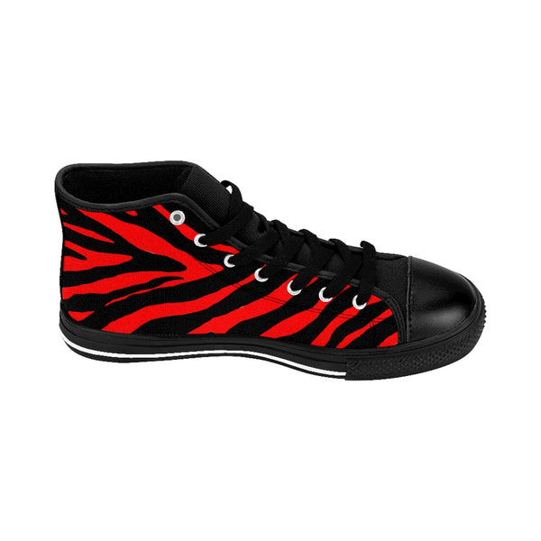 "Red Zebra Women's Sneakers, Striped Animal Print Designer High-top Fashion Tennis Shoes-Shoes-Printify-Heidi Kimura Art LLCRed Zebra Women's Sneakers, Striped Animal Print 5"" Calf Height Women's High-Top Sneakers Running Canvas Shoes (US Size: 6-12)"