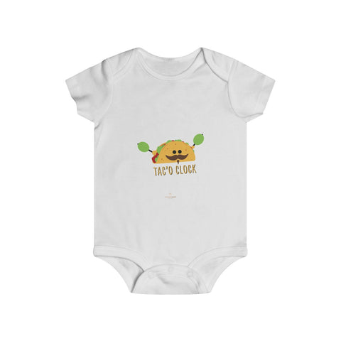 Taco Lover Cute Infant Rip Snap Tee Regular Fit Soft Cotton Baby Bodysuits -Made in USA-Infant Short Sleeve Bodysuit-White-6m-Heidi Kimura Art LLC