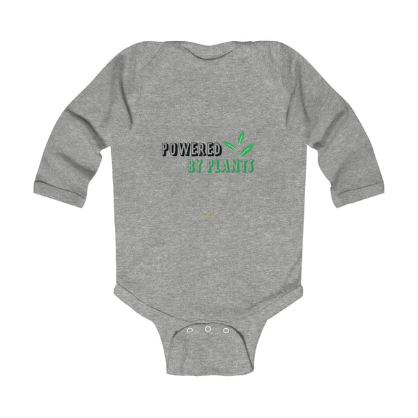 Cute Powered By Plants Vegan Baby Boy/Girls Infant Kids Long Sleeve Bodysuit - Made in USA-Infant Long Sleeve Bodysuit-Heather-NB-Heidi Kimura Art LLC