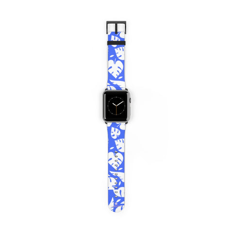 Blue White Tropical Leaf Print 38mm/42mm Watch Band For Apple Watch- Made in USA-Watch Band-42 mm-Black Matte-Heidi Kimura Art LLC