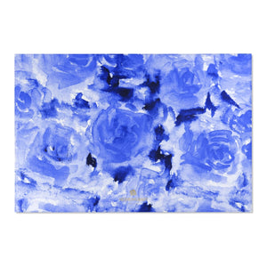 "Blue Abstract Rose Floral Print Designer 24x36, 36x60, 48x72 inches Area Rugs - Printed in USA-Area Rug-72"" x 48""-Heidi Kimura Art LLC Blue Abstract Rose Rug, Blue Abstract Rose Floral Print Designer 24x36, 36x60, 48x72 inches Machine Washable Area Rugs/ Carpet-Printed in the USA"