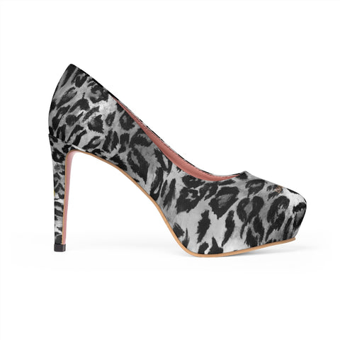 Gray Black Snow Leopard Animal Print Women's Platform Heels Pumps (US Size: 5-11)-4 inch Heels-US 7-Heidi Kimura Art LLCGray Leopard Heels, Black Grey Snow Leopard Animal Print Women's 4 inch Platform Heels Stiletto Pumps Shoes (US Size: 5-11)