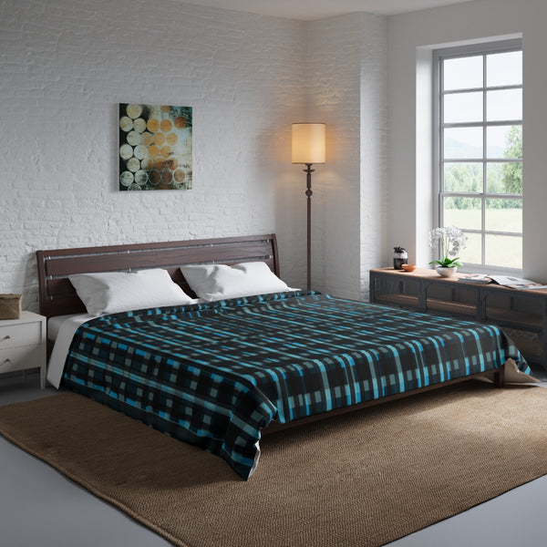 Blue Tartan Plaid Print Luxury Designer Best Comforter For King/Queen/Full/Twin Bed-Comforter-Heidi Kimura Art LLC
