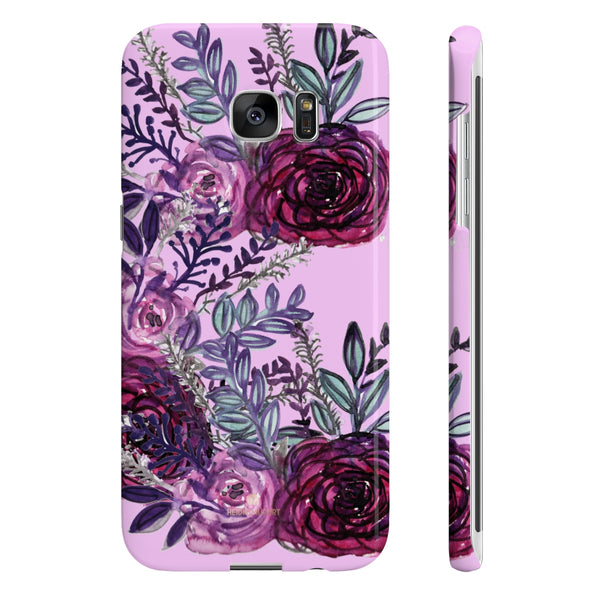 Pale Pink Slim iPhone/ Samsung Galaxy Floral Purple Rose Phone Case, Made in UK-Phone Case-Samsung Galaxy S7 Edge Slim-Glossy-Heidi Kimura Art LLC