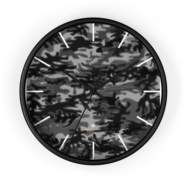 "Gray Camo Camouflage Military Army Print Large Unique 10"" Dia. Wall Clocks- Made in USA-Wall Clock-10 in-Black-Black-Heidi Kimura Art LLC"