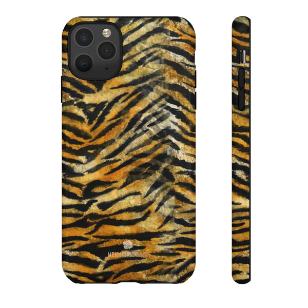 Orange Tiger Striped Phone Case, Animal Print Tough Cases, Designer Phone Case-Made in USA-Phone Case-Printify-iPhone 11 Pro Max-Glossy-Heidi Kimura Art LLC