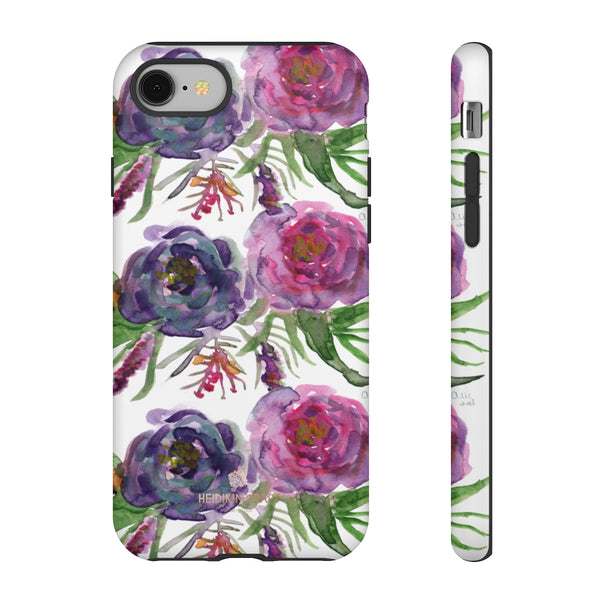 Pink Floral Print Phone Case, Roses Tough Designer Phone Case -Made in USA-Phone Case-Printify-iPhone 8-Matte-Heidi Kimura Art LLC