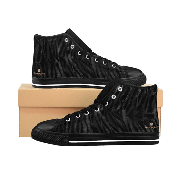 Black Tiger Men's High-top Sneakers, Animal Striped Print Designer Men's Shoes, Men's High Top Sneakers US Size 6-14, Mens High Top Casual Shoes, Unique Fashion Tennis Shoes, Tiger Print Canvas Sneakers, Mens Modern Footwear, Wildlife Gift Idea, Animal Lover Print Shoes (US Size: 6-14)