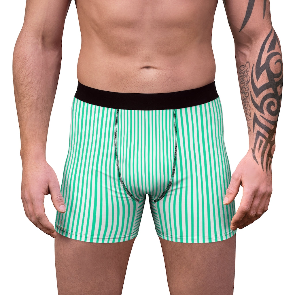 Blue Striped Men's Boxer Briefs, Vertical Stripe Print Premium Quality Underwear For Men-All Over Prints-Printify-L-Black Seams-Heidi Kimura Art LLC Blue Striped Men's Boxer Briefs, Turquoise Blue and White Vertical Stripe Print Sexy Hot Men's Boxer Briefs Hipster Lightweight 2-sided Soft Fleece Lined Fit Underwear - (US Size: XS-3XL)