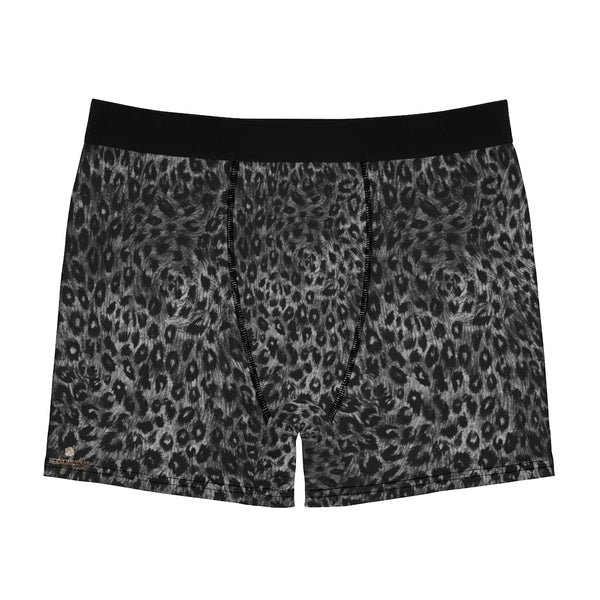 Grey Leopard Men's Boxer Briefs, Animal Print Premium Quality Underwear For Men-All Over Prints-Printify-Heidi Kimura Art LLC Grey Leopard Men's Boxer Briefs, Animal Print Premium Quality Sexy Modern Hot Men's Boxer Briefs Hipster Lightweight 2-sided Soft Fleece Lined Fit Underwear - (US Size: XS-3XL)