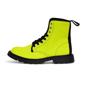 Lime Yellow Classic Solid Color Designer Women's Winter Lace-up Toe Cap Boots-Women's Boots-Black-US 9-Heidi Kimura Art LLC