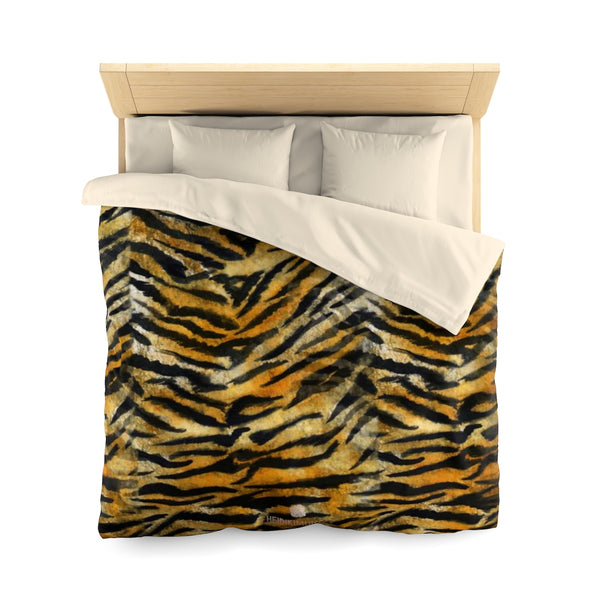 Orange Tiger Stripe Duvet Cover, Brown Animal Print Microfiber Bedding Cover-Made in USA-Duvet Cover-Queen-Cream-Heidi Kimura Art LLC