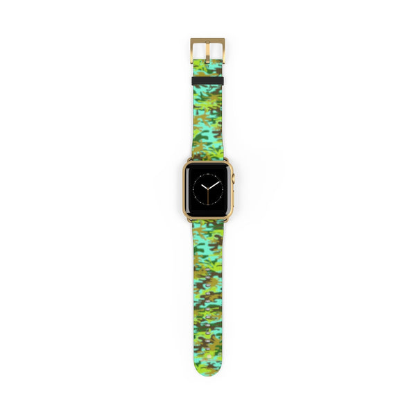 Light Blue Green Camo Print 38mm/ 42mm Watch Band For Apple Watches- Made in USA-Watch Band-38 mm-Gold Matte-Heidi Kimura Art LLC