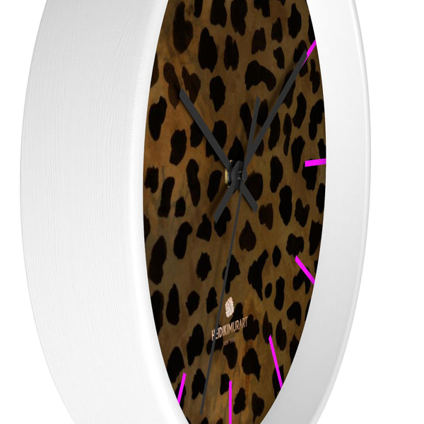 Cheetah Animal Print Designer 10 in. Dia. Indoor Wall Clock- Made in USA-Wall Clock-Heidi Kimura Art LLC