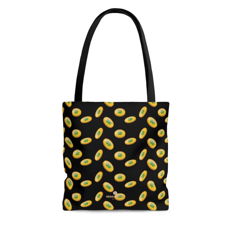 Black Lucky Gold Coins Bag, Lucky Shamrock St. Pattys Day Print Tote Bag- Made in USA-Beach Tote Bag-Large-Heidi Kimura Art LLC