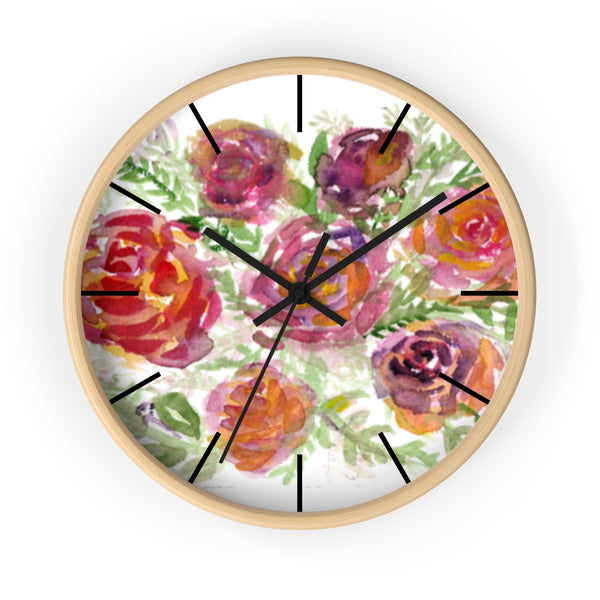 "Orange Red Floral Print French Rose 10"" Diameter Modern Wall Clock - Made in USA-Wall Clock-Wooden-Black-Heidi Kimura Art LLC"