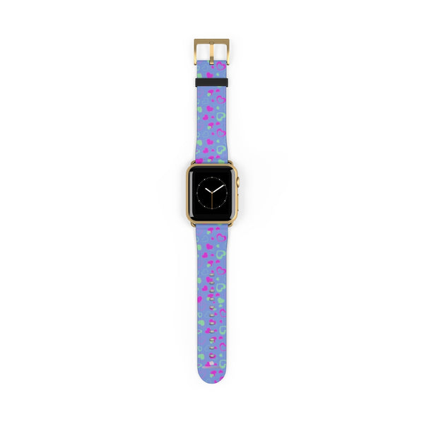 Light Violet Purple Pink Hearts 38mm/42mm Watch Band For Apple Watch- Made in USA-Watch Band-38 mm-Gold Matte-Heidi Kimura Art LLC