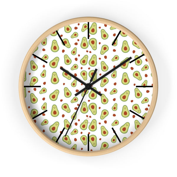 "Avocado Print Large Wall Clocks, 10"" Dia. Clock For Avocado Vegan Lovers- Made in USA-Wall Clock-10 in-Wooden-Black-Heidi Kimura Art LLC"