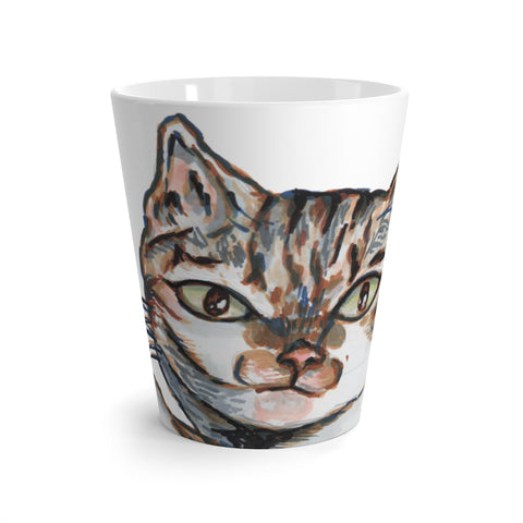 Cute Cat 12 oz Latte Mug, Peanut Meow Cat Best White Ceramic Coffee Cup, Ceramic Latte Mug, Microwave-Safe, Dishwasher-Safe Tea Coffee Cup -Printed in USA, Cat Coffee Mug, Best Cat Mugs, Great Gifts For Cat Lovers