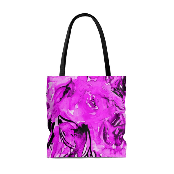 Shocking Pink Rose Flower Floral Designer Small Medium Large Tote Bag - Made in USA-Bags-Heidi Kimura Art LLC