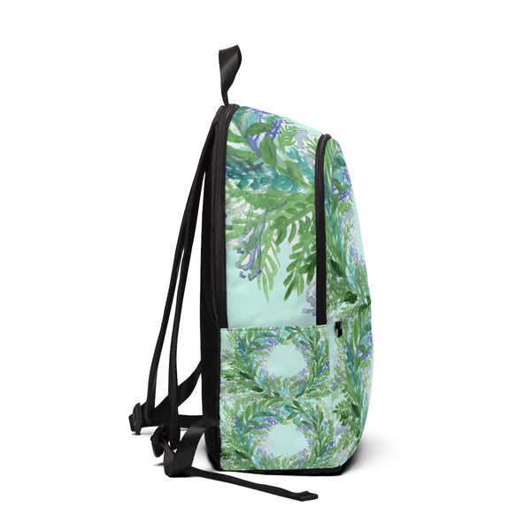 Pastel Blue Purple Lavender Floral Print Designer Unisex Fabric Backpack-Backpack-One Size-Heidi Kimura Art LLC