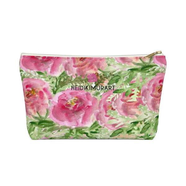 Pink Spokane Sweet Pink Rose Floral Designer Accessory Pouch with T-bottom-Accessory Pouch-White-Small-Heidi Kimura Art LLC