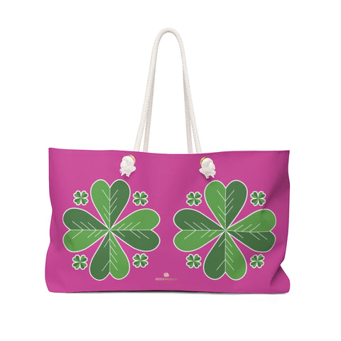 "Hot Pink Green Clover Leaf St. Patrick's Day Irish Print 24""x13""Weekender Bag- Made in USA-Weekender Bag-24x13-Heidi Kimura Art LLC"