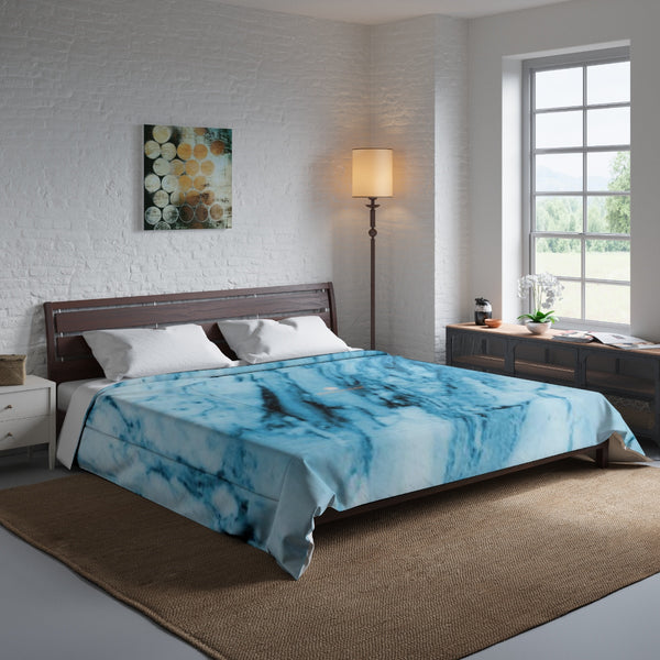 Blue White Marble Print Luxury Designer Best Comforter For King/Queen/Full/Twin-Comforter-104x88-Heidi Kimura Art LLC
