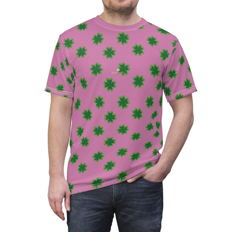 Pink Green Clover St. Patrick's Day Print Unisex Crew Neck Cut & Sew Tee- Made in USA-Unisex T-Shirt-4 oz.-White Seams-L-Heidi Kimura Art LLC