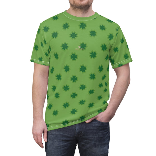Light Green Clover St. Patrick's Day Print Unisex Crew Neck Cut & Sew Tee- Made in USA-Unisex T-Shirt-4 oz.-White Seams-L-Heidi Kimura Art LLC