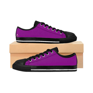 Magenta Purple Solid Color Designer Low Top Women's Sneakers Running Shoes-Women's Low Top Sneakers-US 10-Heidi Kimura Art LLC
