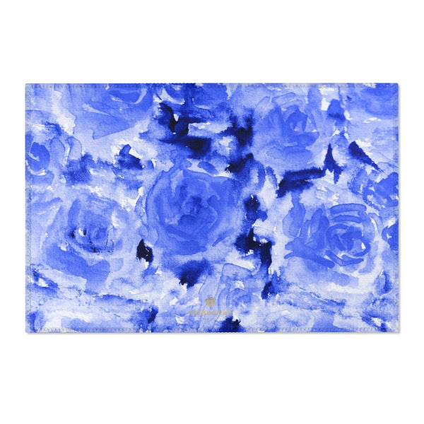 "Blue Abstract Rose Floral Print Designer 24x36, 36x60, 48x72 inches Area Rugs - Printed in USA-Area Rug-36"" x 24""-Heidi Kimura Art LLC"