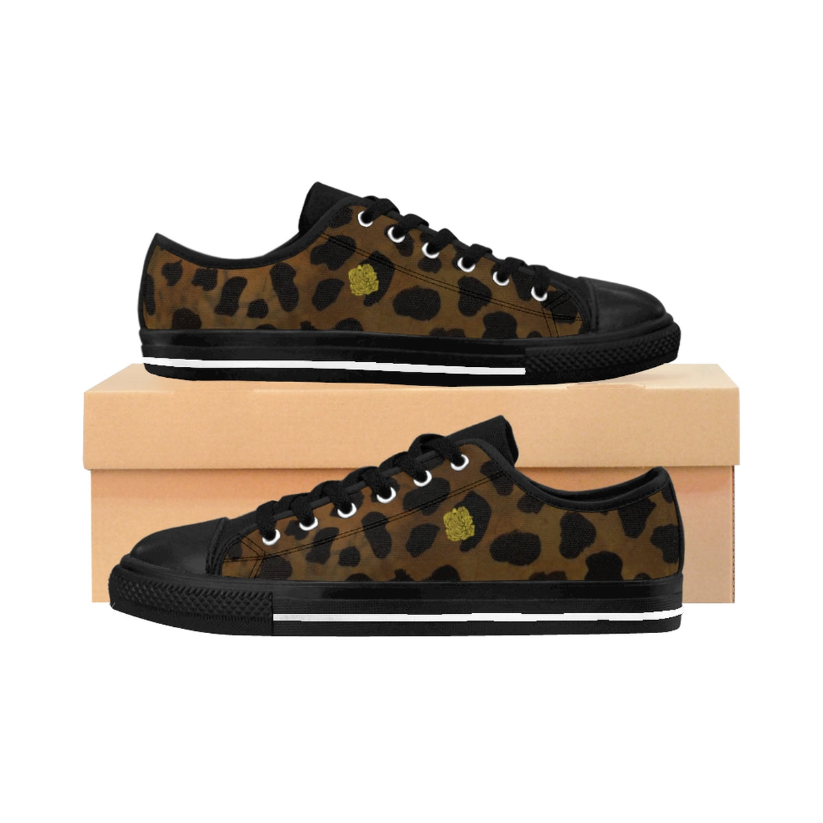 Brown Leopard Print Animal Print Women's Fashion Canvas Sneakers (US Size: 6-12)-Women's Low Top Sneakers-US 10-Black-Heidi Kimura Art LLC