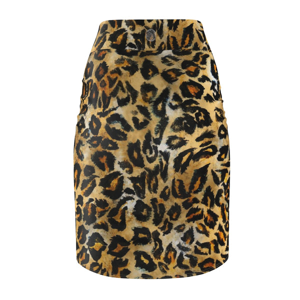 Leopard Print Women's Pencil Skirt, Animal Print Designer Skirt -Made in USA(Size XS-2XL)-Pencil Skirt-Heidi Kimura Art LLC