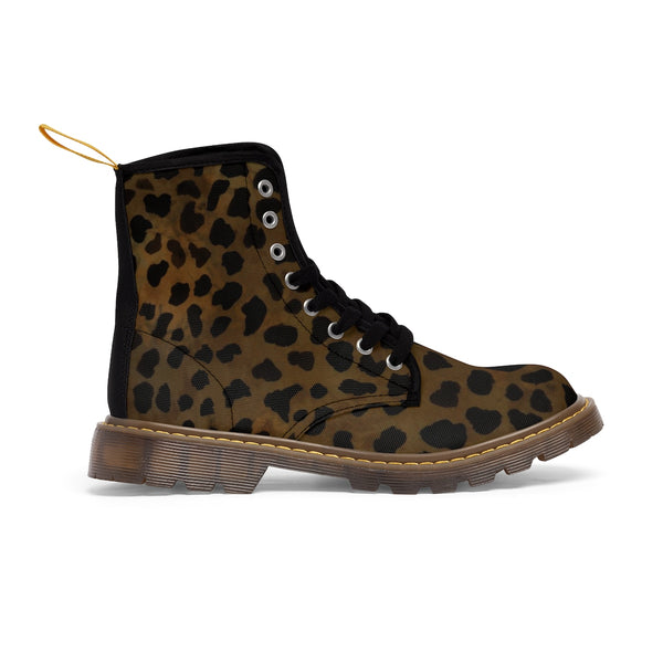 Brown Leopard Animal Print Women's Winter Laced-Up Nylon Canvas Boots (US Size: 6.5-11)-Women's Boots-Heidi Kimura Art LLC