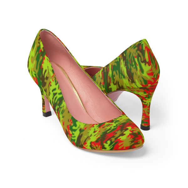 Hot Red & Green Camo Military Army Print Premium Women's 3 inch Designer High Heels Shoes Stylish Pumps, Camouflage Heels, Camo Heels, Camo Shoes, Green Camo Heel, Army Camo High Heels, Camouflage High Heel Shoes (US Size: 5-11)