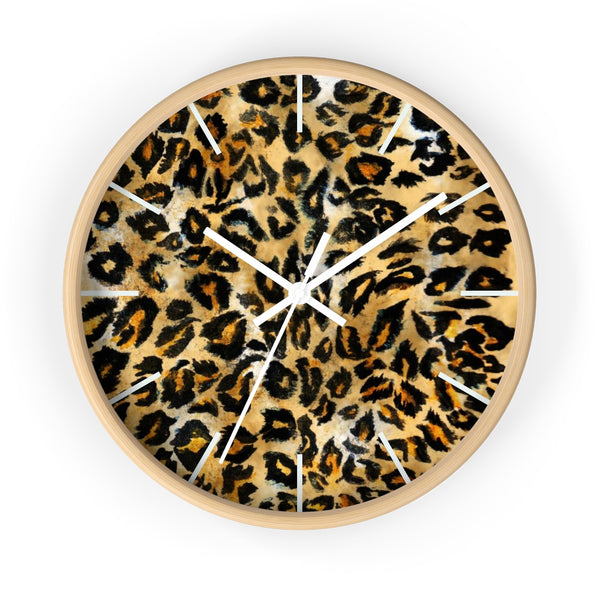 "Brown Leopard Print Wall Clock, Animal Print Pattern 10"" Dia. Indoor Clock-Made in USA-Wall Clock-Wooden-White-Heidi Kimura Art LLC"