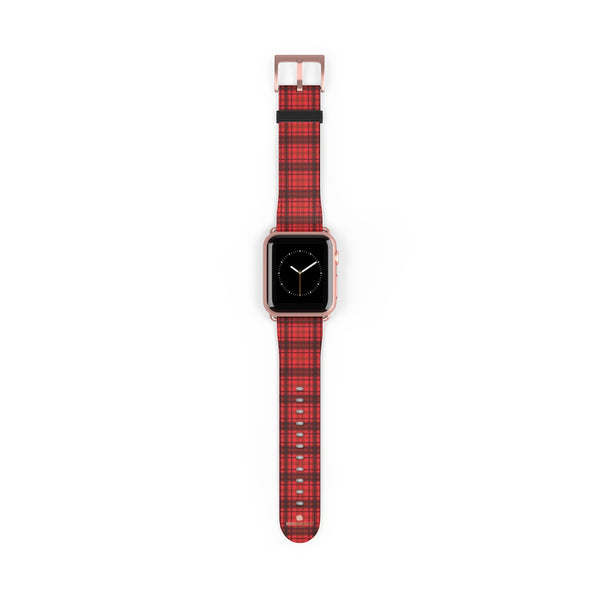 Scottish Red Tartan Plaid Print 38mm/42mm Watch Band For Apple Watch- Made in USA-Watch Band-38 mm-Rose Gold Matte-Heidi Kimura Art LLC