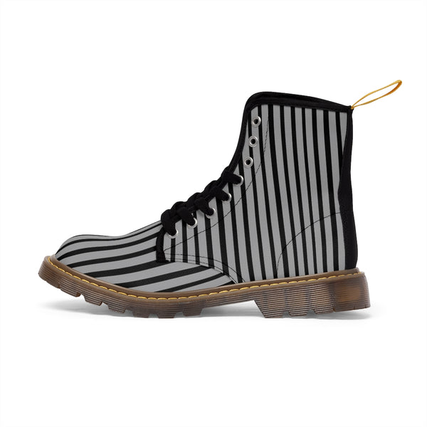 Grey Striped Print Men's Boots, Black Stripes Best Hiking Winter Boots Laced Up Shoes For Men-Shoes-Printify-Heidi Kimura Art LLC