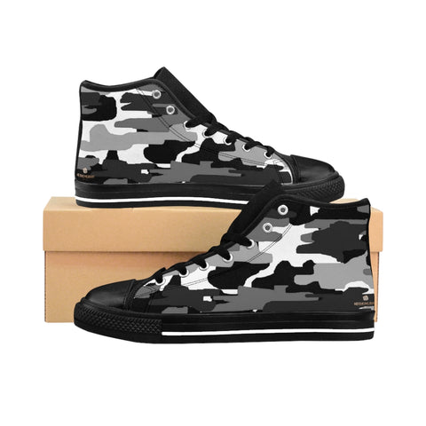 "Black Camo Women's Sneakers, Gray Army Print Designer High-top Sneakers Tennis Shoes-Shoes-Printify-Black-US 9-Heidi Kimura Art LLCBlack Camo Women's Sneakers, Grey/ Gray Dark Modern Chic Army Military Camouflage Print 5"" Calf Height Women's High-Top Sneakers Running Canvas Shoes (US Size: 6-12)"