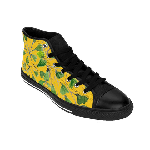 Yellow Maidenhair Men's Tennis Shoes, Tropical Print Designer Best High-top Sneakers For Men-Shoes-Printify-Black-US 9-Heidi Kimura Art LLC Yellow Fern Men's High-top Sneakers, Green Cute Maidenhair Leaf Print Designer Men's High-top Sneakers Running Tennis Shoes, Fern Leaves Designer High Tops, Mens Floral Shoes, Tropical Leaf Print Sneakers (US Size: 6-14)