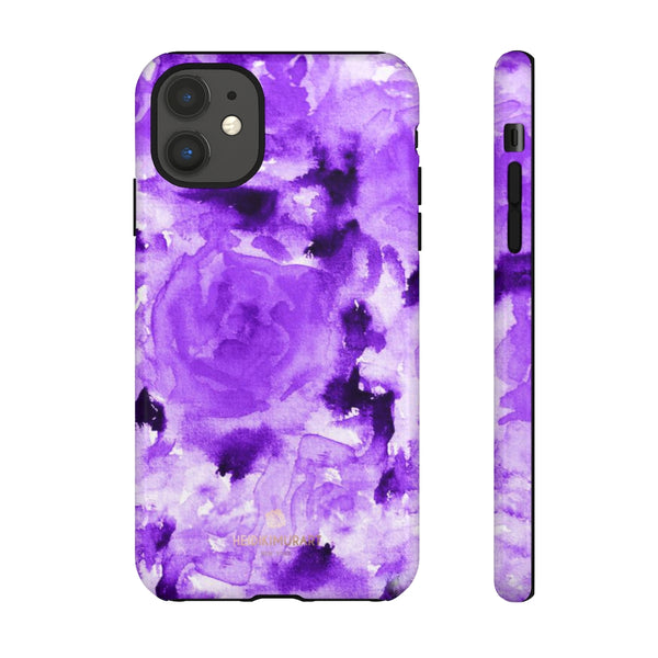 Purple Floral Rose Phone Case, Roses Floral Print Tough Designer Phone Case -Made in USA-Phone Case-Printify-iPhone 11-Glossy-Heidi Kimura Art LLC